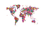 Butterflies Map of the World Premium Giclee Print by Michael Tompsett