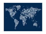 Butterflies Karte von der Welt Map Giclée-Premiumdruck von Michael Tompsett