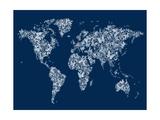 Butterflies Mapa del Mundo Mapa Lámina giclée premium por Michael Tompsett