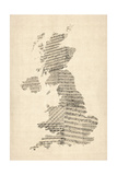 Great Britain UK Old Sheet Music Map Premium Giclee Print by Michael Tompsett
