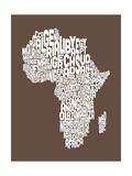 Mapa de Áfricuna Mapa, Text Art Lámina giclée premium por Michael Tompsett