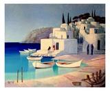 Village Grec Premium Giclee Print by Roger Burgi