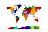 Mapa del Mundo Mapa Lámina giclée de primera calidad por Michael Tompsett