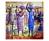 Femmes Pilant Le Mil Lámina giclée de primera calidad por Roger Burgi