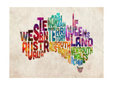 Australia Text Map Premium Giclee Print by Michael Tompsett
