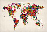 Love Hearts Mapa del Mundo Mapa Lámina giclée de primera calidad por Michael Tompsett