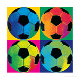Fire fodbolde Premium Giclée-tryk af Hugo Wild