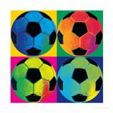 Vier voetballen Premium gicléedruk van Hugo Wild