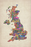 Great Britain UK City Text Map Posters by Michael Tompsett