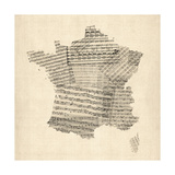 Map of France Old Sheet Music Map Premium Giclee Print by Michael Tompsett
