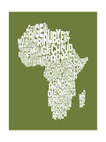 Map of Africa Map, Text Art Premium Giclee Print by Michael Tompsett