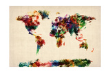 Map of the World Map Abstract Painting Premium Giclee Print by Michael Tompsett