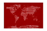 Mapa del Mundo de Viejo Sheet Music Lámina giclée de primera calidad por Michael Tompsett