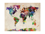 World Map Urban Watercolour Premium Giclee Print by Michael Tompsett