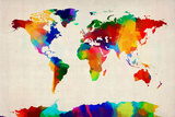 Map of the World Map Premium Giclee Print by Michael Tompsett