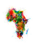 Paint Splashes Map of Africa Map Prints by Michael Tompsett