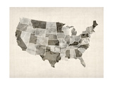 United States Watercolor Map Premium Giclee Print by Michael Tompsett