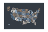 United States Text Map Premium Giclee Print by Michael Tompsett