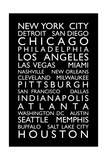 USA Cities Bus Roll Premium Giclee Print by Michael Tompsett