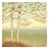 Golden Birch I with Blue Sky Giclee-tryk i høj kvalitet af James Wiens