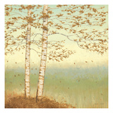 Golden Birch I with Blue Sky Premium Giclee Print by James Wiens