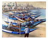 Barques Indiennes Premium Giclee Print by Roger Burgi
