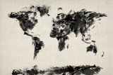 Map of the World Map Abstract Painting Posters par Michael Tompsett