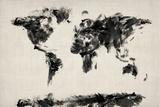 Mapa del Mundo Mapa Abstract Painting Lámina giclée premium por Michael Tompsett