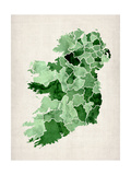 Ireland Watercolor Map Art by Michael Tompsett