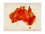 Australia Paint Splashes Map Premium Giclee Print by Michael Tompsett