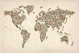 Ladies Shoes Map of the World Map Premium Giclee Print by Michael Tompsett