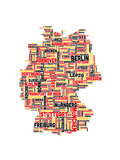 City Text Map of Germany Premium Giclee Print by Michael Tompsett