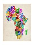 Typography Map of Africa Giclee-tryk i høj kvalitet af Michael Tompsett