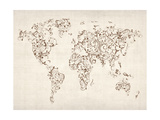 Map of the World Map Floral Swirls Premium Giclee Print by Michael Tompsett