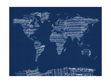 Mapa del Mundo Mapa de Viejo Sheet Music Lámina giclée de primera calidad por Michael Tompsett