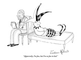 """Apparently, I'm fun, but I'm no fun in bed."" - New Yorker Cartoon Premium Giclee Print by Victoria Roberts"