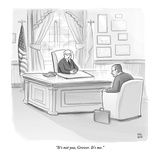 Grover Norquist is let off by a Republican boss at his desk by the America… - New Yorker Cartoon Premium Giclee Print by Paul Noth