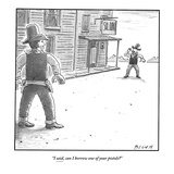 """I said, can I borrow one of your pistols?"" - New Yorker Cartoon Premium Giclee Print by Harry Bliss"