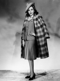 Ann Miller Wearing Light Blue Suit and Plaid Overcoat, 1941 Photo