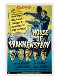House of Frankenstein, Boris Karloff, Lon Chaney Jr., John Carradine, J. Carrol Naish, 1944 Plakaty