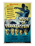 House of Frankenstein, Boris Karloff, Lon Chaney Jr., John Carradine, J. Carrol Naish, 1944 Posters