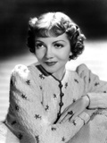Claudette Colbert, Portrait, 1939, in Embroidered Cardigan Prints