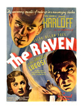 The Raven, Top: Boris Karloff; Bottom From Left: Irene Ware, Bela Lugosi, 1935 Photographie