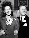 Ava Gardner and Mickey Rooney After Their Wedding, January, 1942 Photo