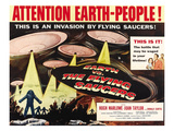 Earth Vs. the Flying Saucers, Right: Joan Taylor, Hugh Marlowe, Donald Curtis, 1956 Posters