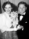 Judy Garland, Mickey Rooney with Her Special Academy Award, 1940 Photo