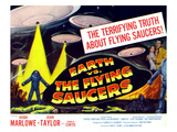 Earth Vs. the Flying Saucers, Far Right From Left: Joan Taylor, Hugh Marlowe, 1956 Poster