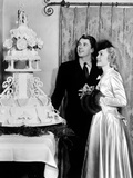 Ronald Reagan and Jane Wyman Admire the Cake at Their Wedding Reception, January 26, 1940 Photo