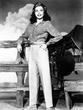 Ann Miller Wearing Slacks and Print Blouse, ca. 1940s Prints