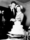 Ronald Reagan, Nancy Reagan Cutting Their Wedding Cake, March 5, 1952 Photo